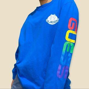 GUESS x J Balvin: Smile Logo Blue Long-Sleeve Tee